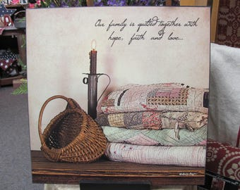 Primitive,Quilts,Our Family Quilted Together, Hope Faith Love,Primitive Wall Hanging,Susie Boyer,18x18