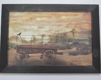 Desert Wagon, Conestoga Wagon, Windmill,Handmade Frame,Western Artwork, Lori Dieter