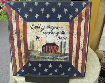 Patriotic Wall Decor, Saltbox House,Primitive Patriotic,Land Of The Free,12x12,Wood Art Sign