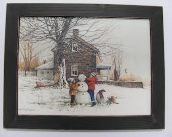 Winter Wall Art,Snowman, Seasonal Wall Art,The Joy Of Snow,Handmade Distressed Frame,181/2x141/2, John Rossinni