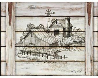 Farmhouse Decor,Windmill,Farm,Country Decor,16x12 Wooden Art Plaque,Cindy Jacobs
