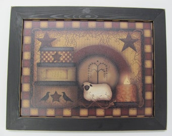 "Primitive Wall Decor,Primitive Wood Sign,Primitive Sheep,Country Wall Decor,18 1/2""x14 1/2"",Carrie Knoff"