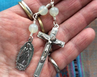 The Little Chaplet of the Three Hail Marys in Silver and Serpentine (New Jade)