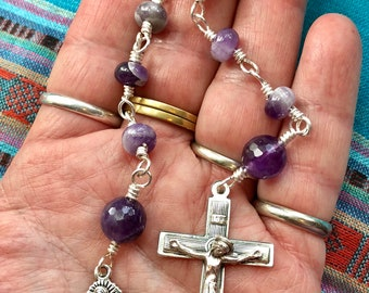Our Lady of Guadalupe- A Handmade, Wire Wrapped Tenner in Amethyst and Silver