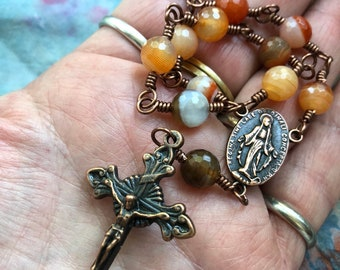 Handmade, Wire Wrapped Single Decade Rosary in Carnelian and Copper