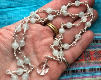 Japa Mala - Handmade Wire Wrapped 27 Bead Mala in Aquamarine, Clear Quartz and Silver