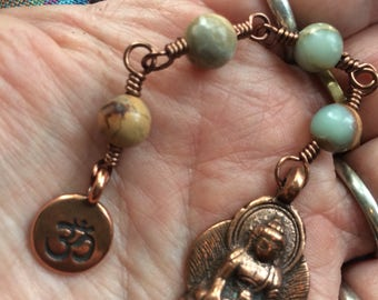 The Loving Kindness Mala in Copper and Aqua Terra/ African Opal. A fundraiser for Alzheimers research