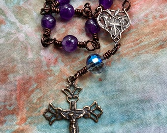 Delicate Handmade Wire Wrapped Single Decade Rosary in Amethyst and Faceted Cut Glass