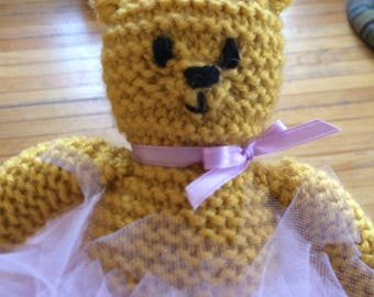 Goldie Bear - a Hand Knit One of a Kind Teddy Bear