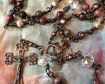 Traditional Full Sized Wire Wrapped Rosary in Tourmaline, Cut Glass and Real Bronze