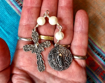 The Little Chaplet of the Three Hail Marys in Silver and Mother of Pearl
