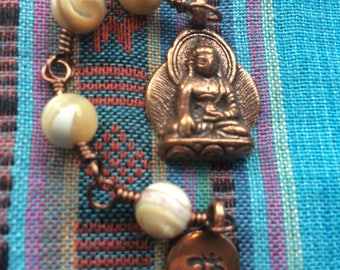 The Loving Kindness Mala in Copper and Natural Mother of Pearl. A fundraiser for Alzheimers Research