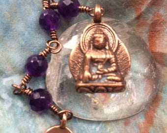 The Loving Kindness Mala in Copper and Faceted Amethyst. A fundraiser for Alzheimers Research