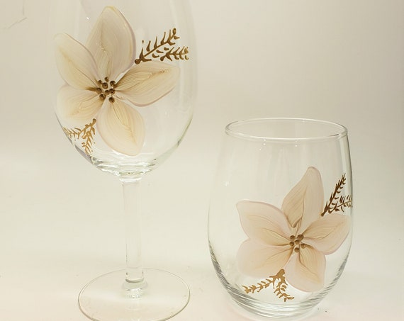 Hand Painted Christmas Poinsettia in white and gold three sizes available