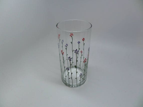 Hand Painted Red and Purple flowers on vase