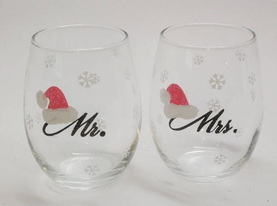 Hand Painted Stemless Wine Glasses - Mr. or Mrs. Santa  Great Gift Can be Personalized