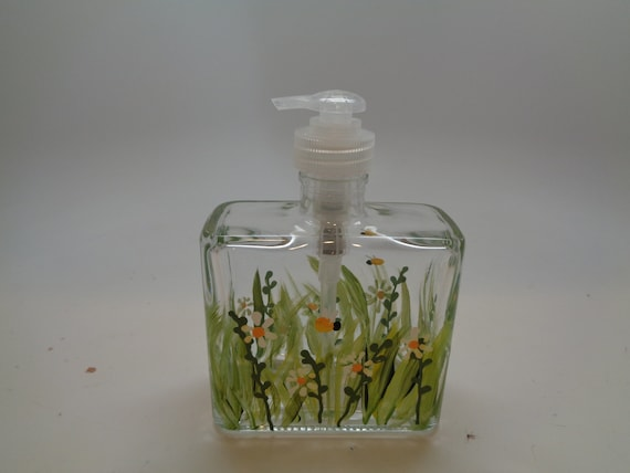 Hand painted Summer garden Soap or Lotion Dispensr