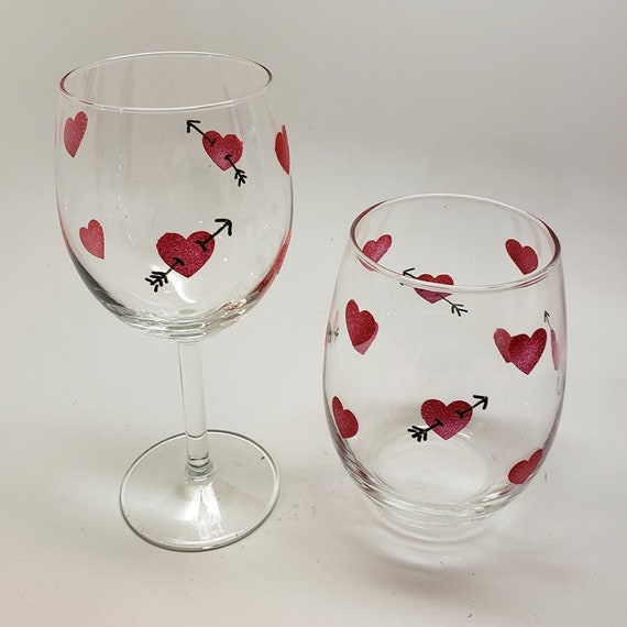 Hand Painted Valentine Wine Glass Stemmed or Stemless