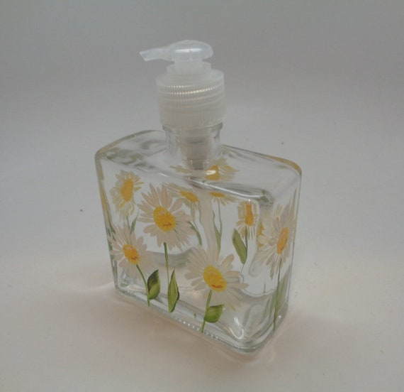 Hand painted White and Yellow Daisy Soap or Lotion Dispenser