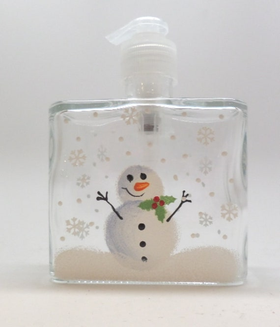 Hand painted Snowman Soap Dispenser with Holly