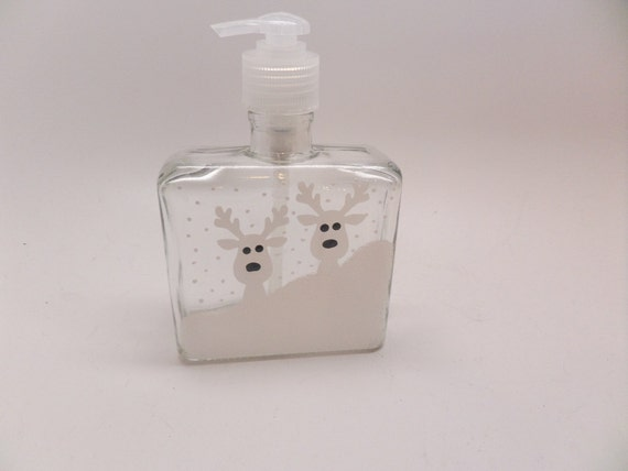 Hand Painted Soap Dispenser - Two reindeer in snow