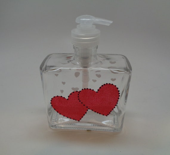 Hand painted Valentine Soap Dispenser with two hearts to personalize with initials or names