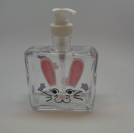 Hand Painted Easter Bunny Soap Dispenser with cute bunny face