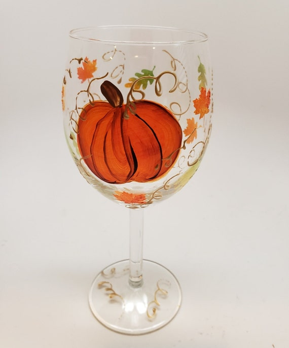 Fall Hand Painted Pumpkin Wine Glass with leaves and swirls
