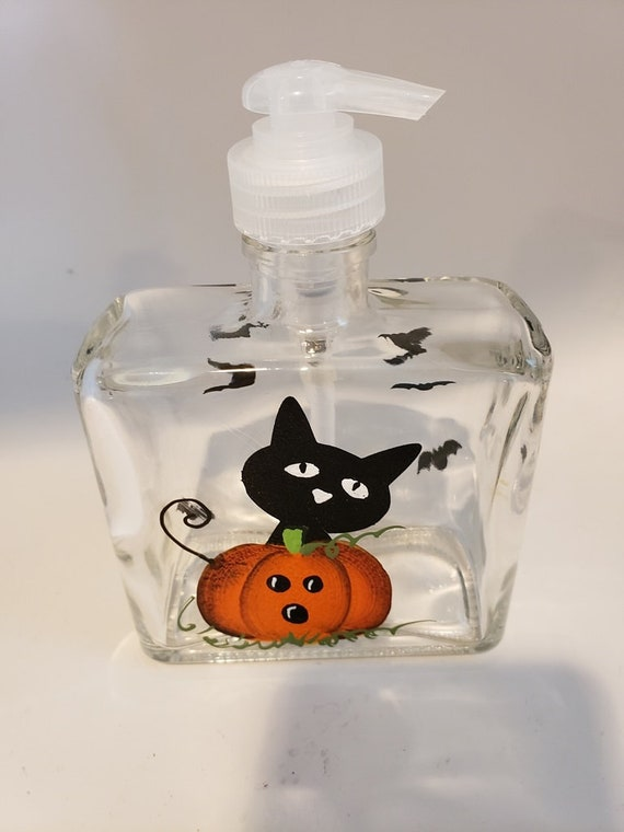 Hand Painted Soap Dispenser for Halloween  Adorable Kitty with pumpkin