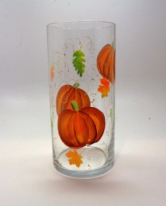 Fall Vase with Pumpkins, leaves and gold swirls in beautiful fall colors