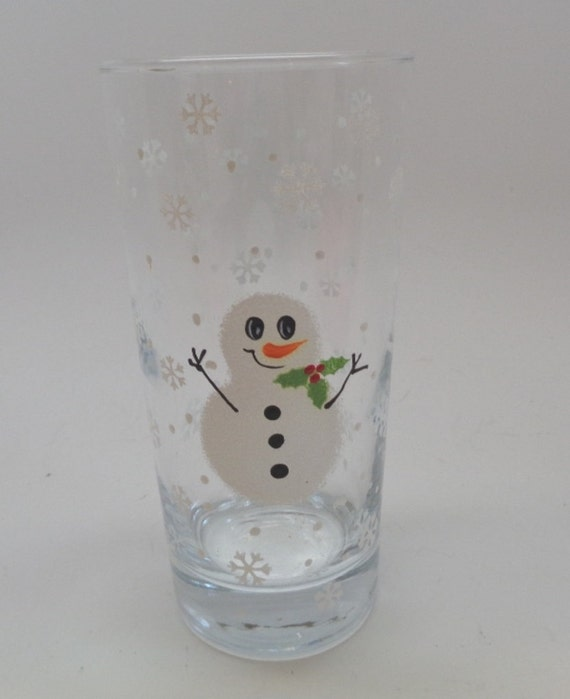 Hand Painted Glass with snowman  and snowflakes