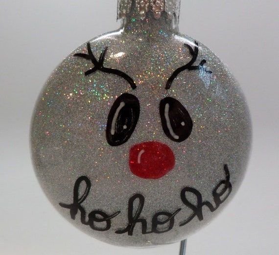 Hand Painted Personalized Reindeer Ornament Free Personalization and Free Shipping