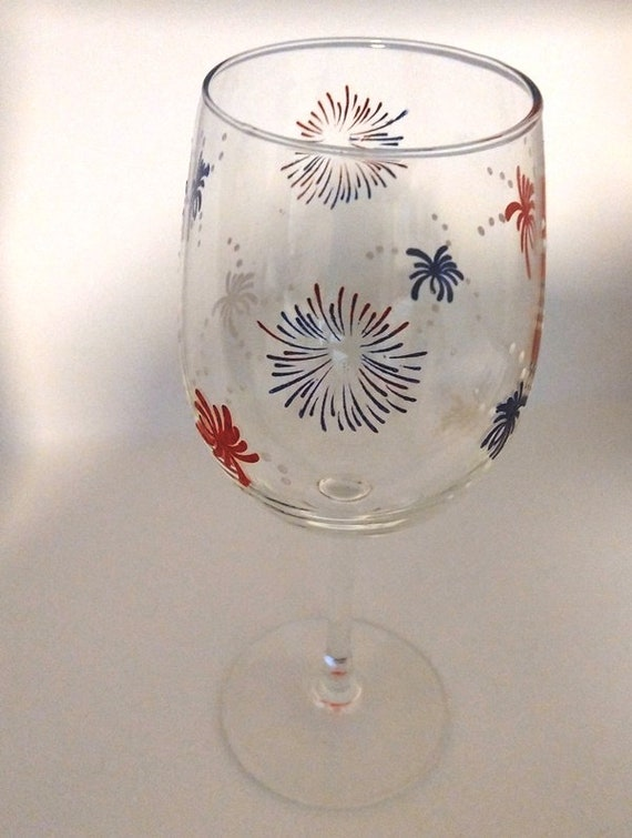 Hand Painted 4th of July Wine Glass Red, White and Blue Fireworks