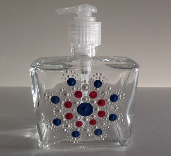 Hand Painted Mandalas dot design in Red, White or Blue on Soap or Lotion Dispenser