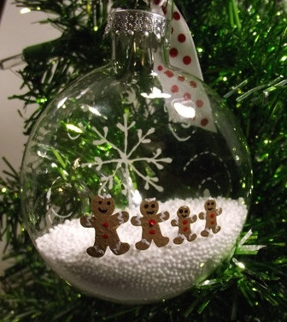 Hand Painted Christmas Ornament -  Gingerbread Families with snow inside