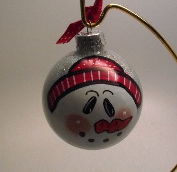 Hand painted Ornament - Snowman Ornament with silver glitter and hat