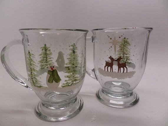 Choice of Hand Painted Snowman or Reindeer 16 oz. Mug