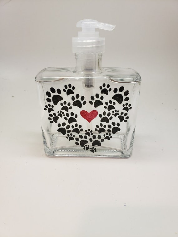 Hand painted Black Paw with Red Heart Soap Dispenser
