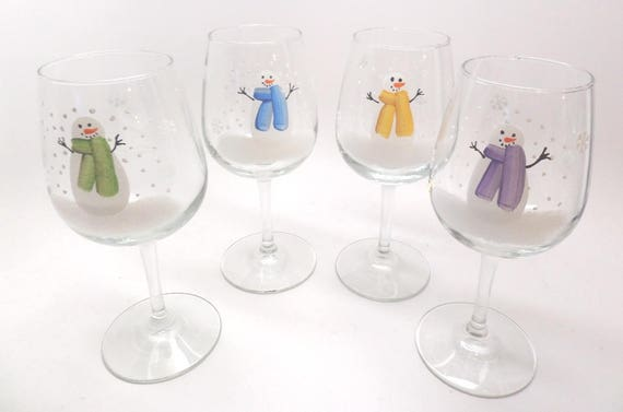 Hand Painted Wine Glass with Snowman in yellow, green, blue or purple scarf  Can be Personalized