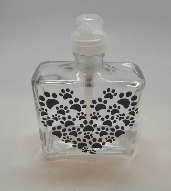 Hand painted Heart Paw Print Soap or Lotion Dispenser