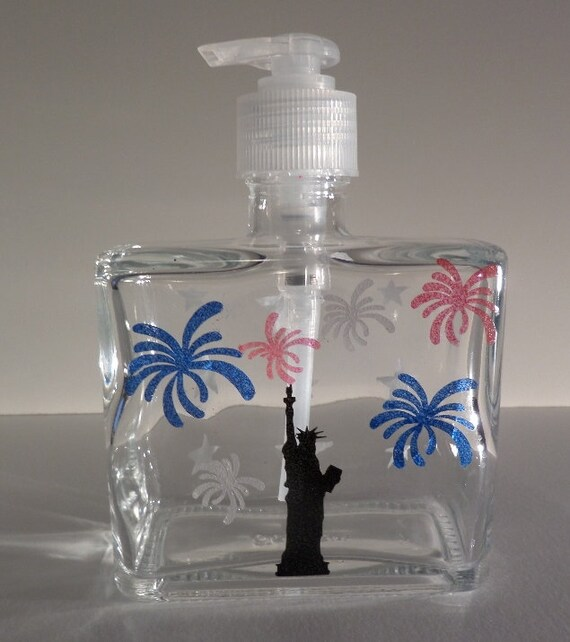 Hand painted 4th of July Soap or Lotion Dispenser