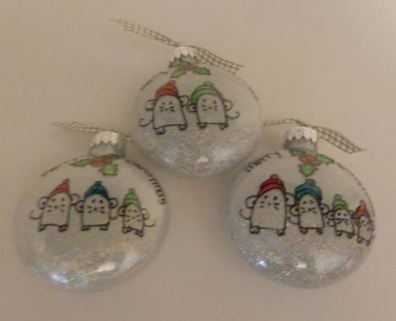 Christmas Family Ornament with Mice in hats  Available with two, three or four family members.  Can be personalized Free Shipping