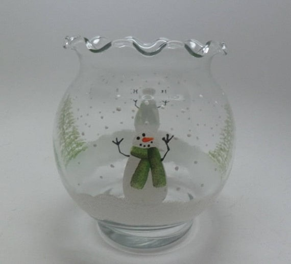 Hand Painted Candle Holder - Snowmen in the snow with trees candle holder or flower vase