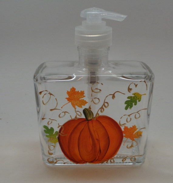 Hand Painted Soap Dispenser - Fall Pumpkin and Leaves soap dispenser