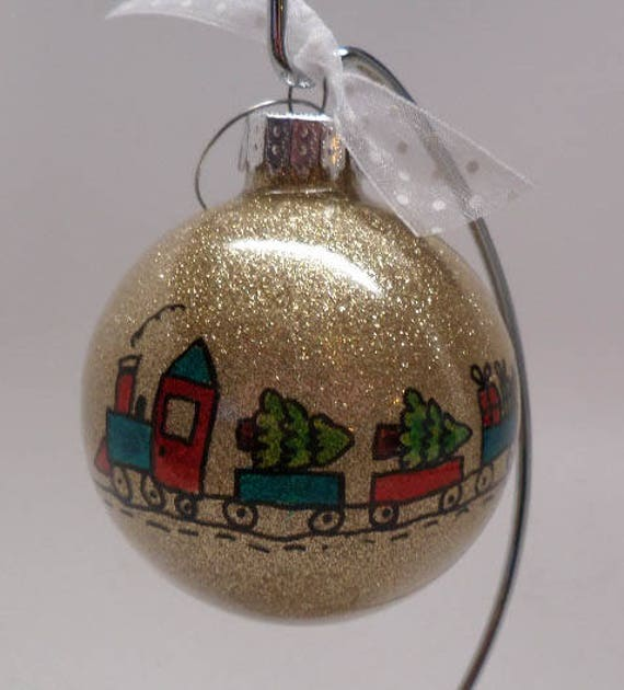 Hand made Christmas Ornament with colorful train bring Christmas trees and presents  Can be personalized