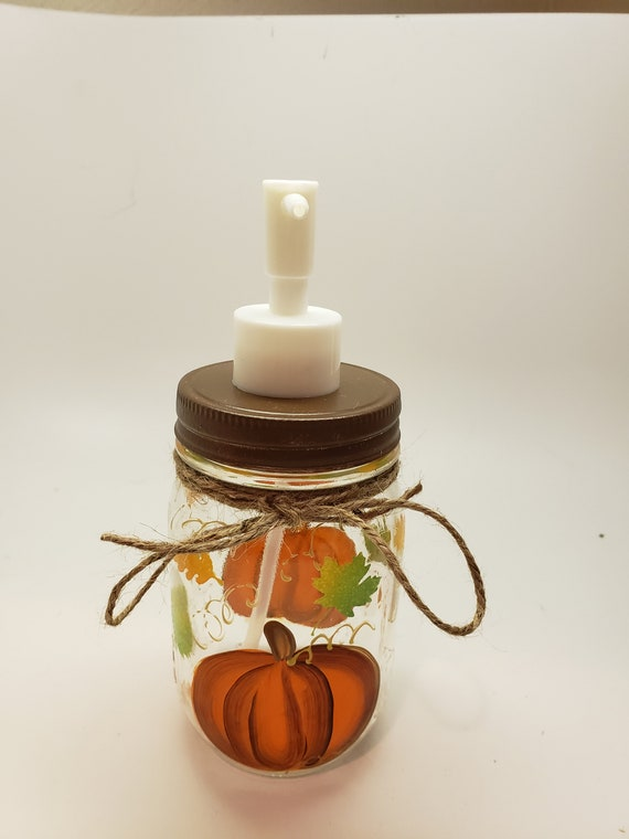 Hand Painted Mason Jar Soap Dispenser - Fall Pumpkin and Leaves soap dispenser