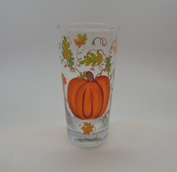 Hand Painted Glass with Fall Pumpkin and leaves