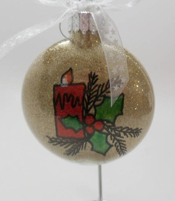 Hand painted Christmas Ornament with candle and holly can be personalized
