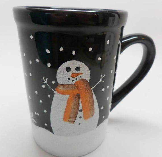 Hand Painted Snowman on Black Coffee Tea or Cocoa Mug with Snow Free Personalization