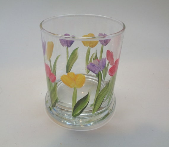 Hand Painted Tulip Candle holder with Pink, Yellow and Purple Tulips